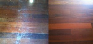 Suelo de madera deteriorado y restaurado