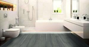 Baño con pavimento FLINTfloor