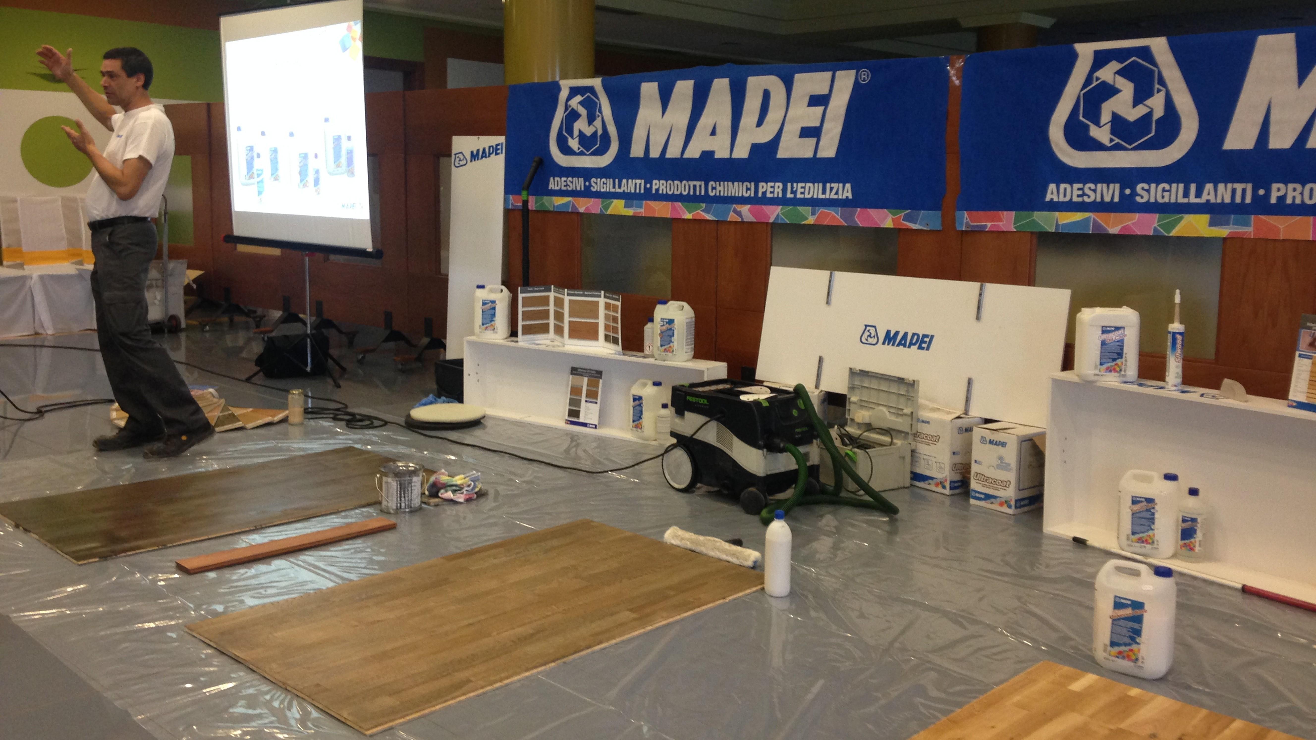 Jornadas aplicación de barnices Mapei Ultracoat en Pavimentos Vetusta